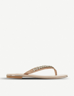 DUNE Newbey embellished leather flip-flops