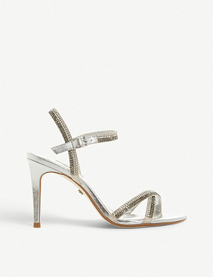 DUNE Magdalena metallic diamante-embellished sandals