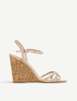 DUNE Minke crystal-embellished metallic-leather wedges