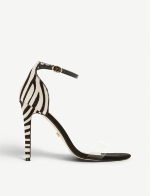 DUNE Marquee zebra-patterned leather and PVC heeled sandals