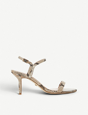 DUNE Monicco Barely There snake-print faux-leather heeled sandals