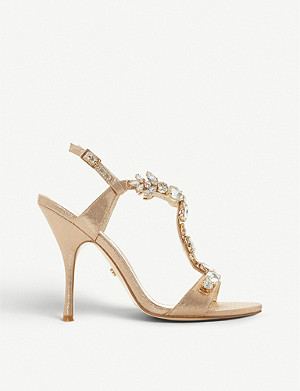 DUNE Mistique embellished metallic heeled sandals