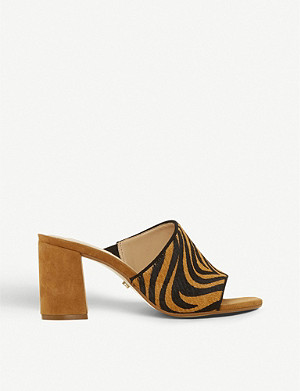DUNE Marsaye tiger-patterned leather heeled mules