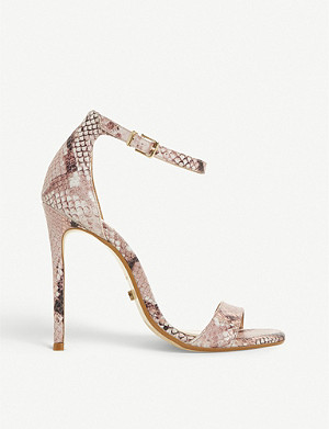DUNE Moxie snakeskin embossed leather sandals