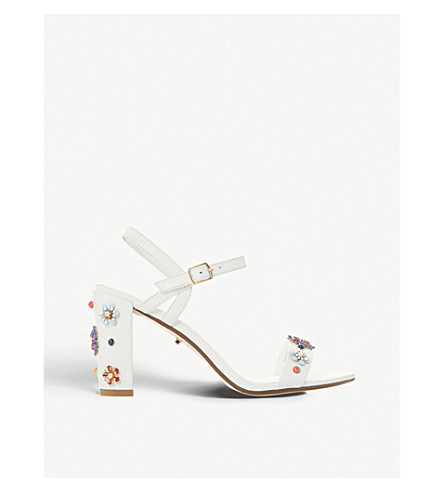 c76773e4bb8 DUNE Moonflower floral-embellished leather heeled sandals (White-leather