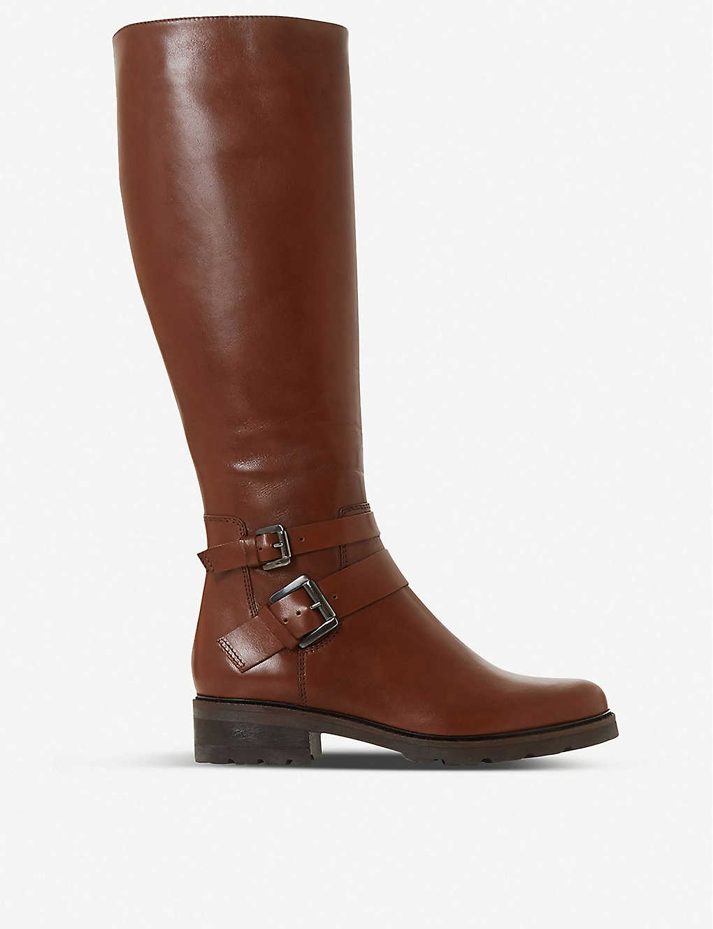 DUNE: Tambie double-buckle leather knee-high boots