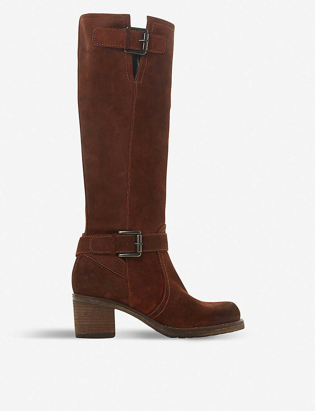 DUNE: Tansey faux fur-lined knee-high suede boots