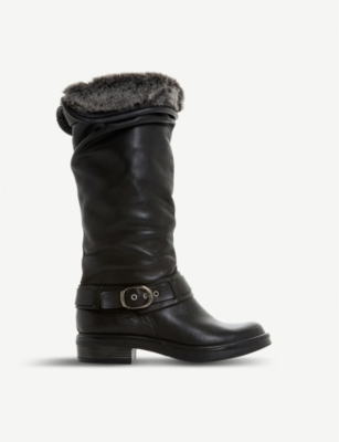 DUNE Torie ruched leather knee-high boots