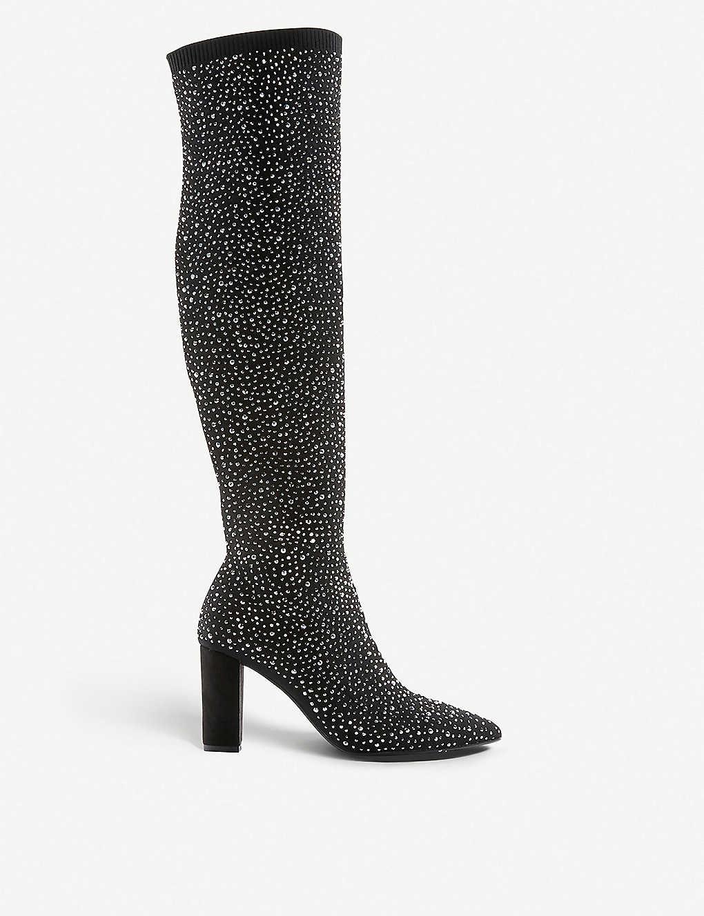 6efc2b0c91 DUNE - Socialite crystal-embellished knee-high boots | Selfridges.com