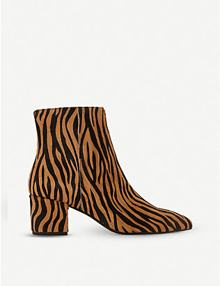 DUNE: Omarii pony hair heeled ankle boots