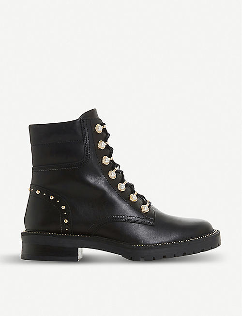 DUNE Pearley embellished leather hiking boots