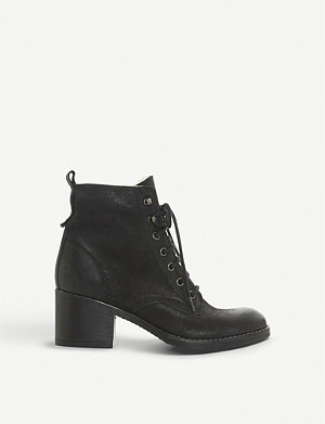 DUNE Patsie D shearling-lined leather ankle boots