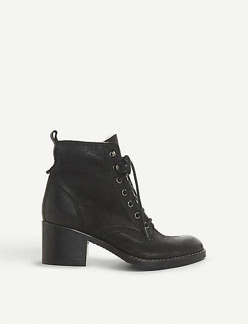 DUNE: Patsie D shearling-lined leather ankle boots