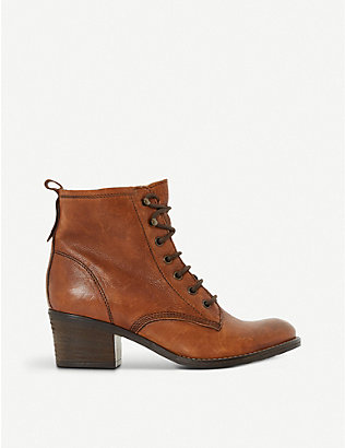 DUNE: Leather lace up Patsie ankle boot
