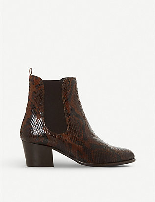 DUNE: Pattersson snake-print leather Chelsea boots