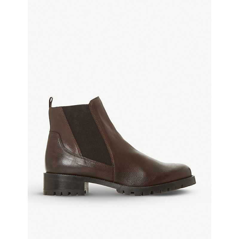 Dune Powerful Block-Heel Ankle Boot In Brown-Leather