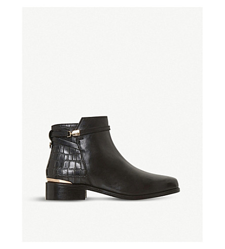 Dune PEPPEY SNAKE-EMBOSSED LEATHER ANKLE BOOTS