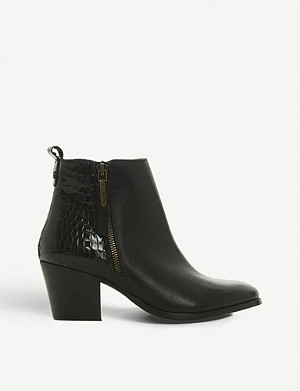 DUNE Peerson reptile-embossed leather ankle boots