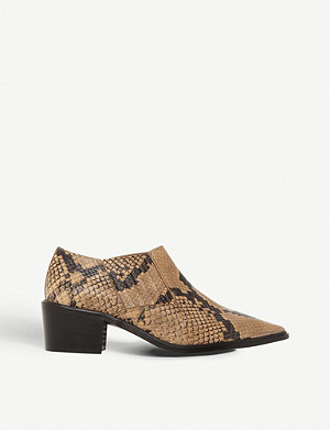 DUNE Paavo leather snakeskin-print booties