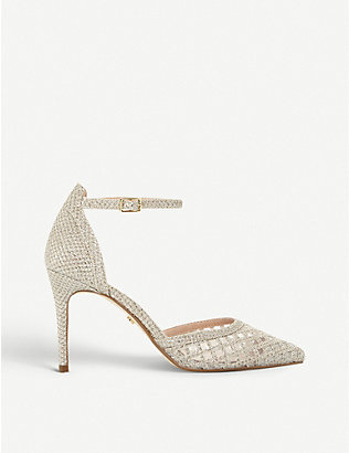 DUNE: Dolli Di metallic-woven heeled courts