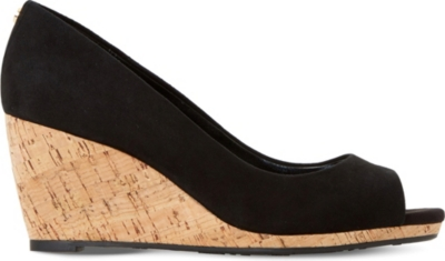 8aefe29d555 DUNE - Cadence suede cork wedge courts