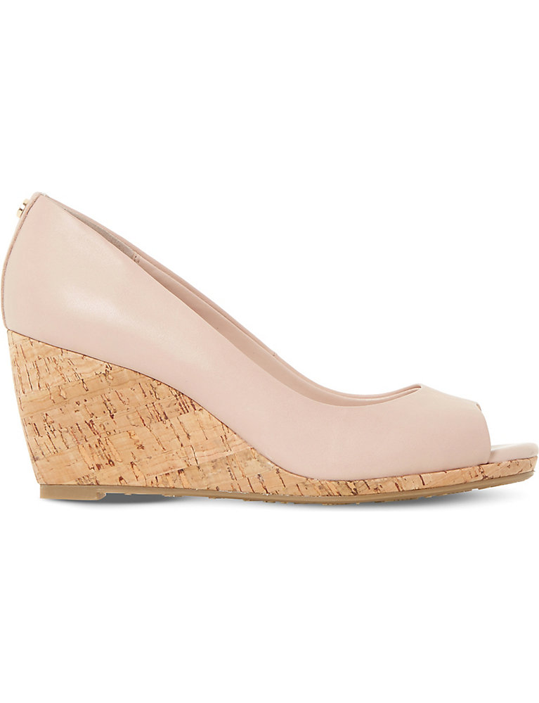 DUNE Cadence leather cork wedge courts |