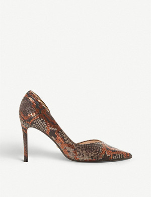 DUNE Dream embellished-trim snakeskin-embossed leather courts