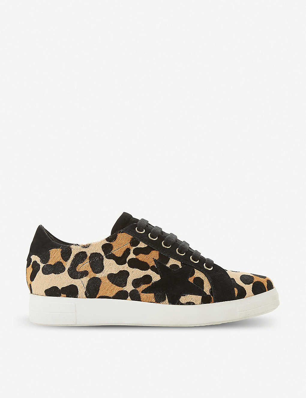 39f4a6e09c14 Edris leopard-print ponyhair and leather trainers - Leopardleather ...