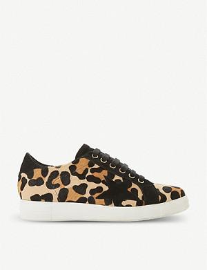 1c916334b337 DUNE - Edgware leopard-print ponyskin trainers | Selfridges.com