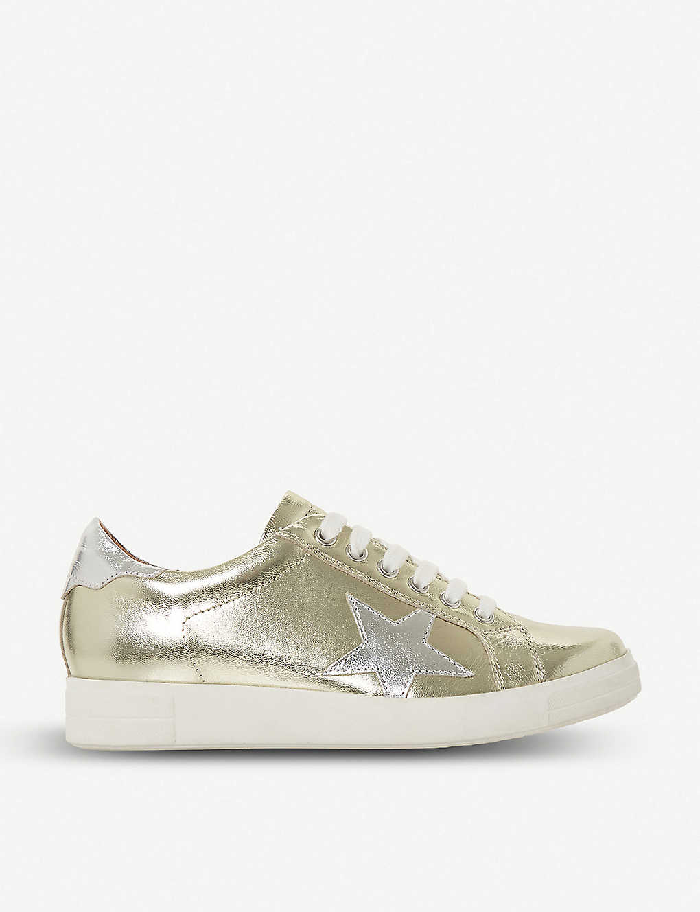 5a30a20e30b7 DUNE - Edris star applique metallic-leather trainers | Selfridges.com