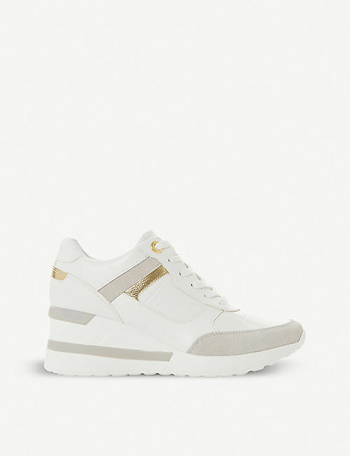 DUNE Elouera leather wedge trainers