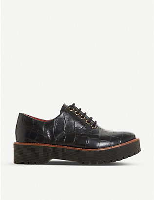 BERTIE: Federo croc-embossed leather shoes