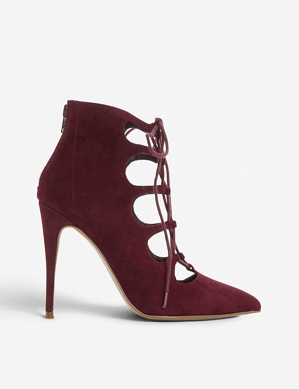 c79aa580c88 Delightful lace-up suede heels - Burgundysuede ...