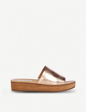STEVE MADDEN Genca metallic leather flatform slides