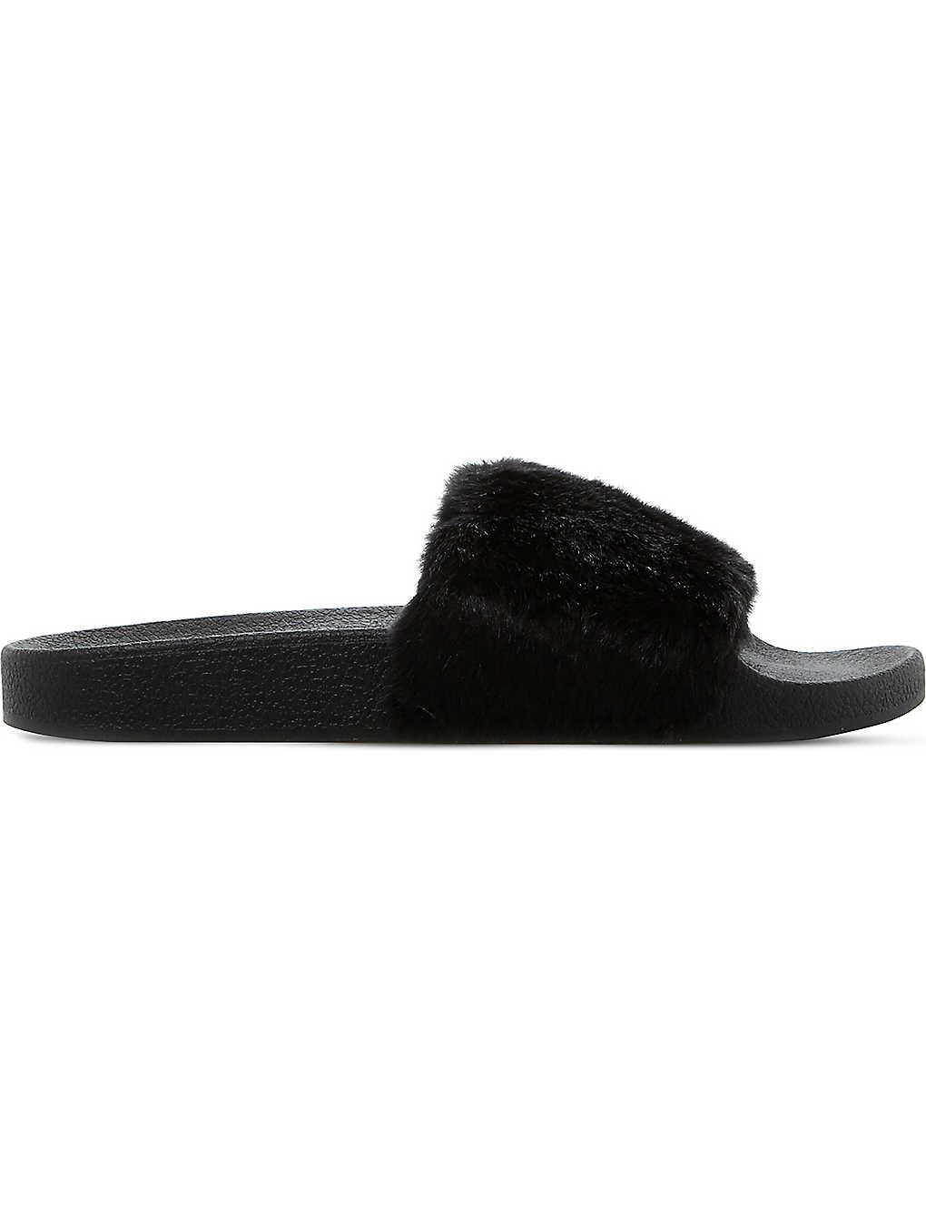 486a510c922 STEVE MADDEN - Softey faux-fur slide sandals | Selfridges.com