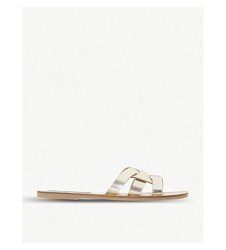 f3c35356ab3 ... STEVE MADDEN Sicily woven-front sandals (Gold-leather. PreviousNext