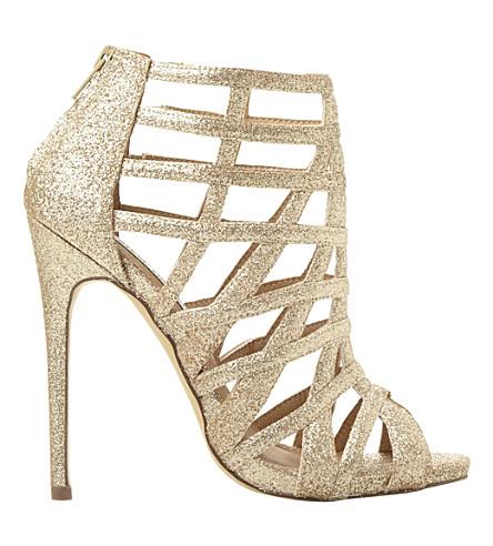 cf83e67c450 STEVE MADDEN Caged glitter heeled sandals (Gold-glitter
