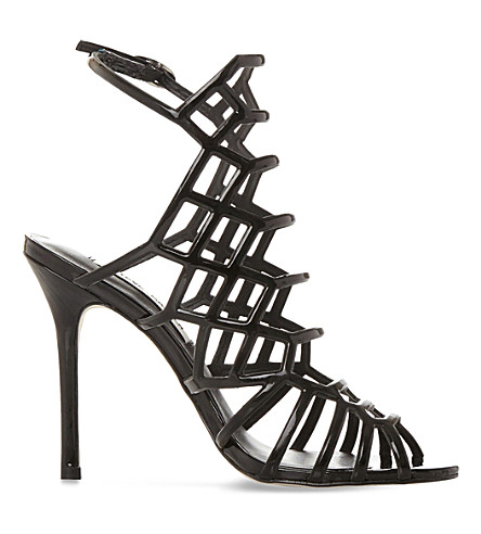 fad63a2188b1 STEVE MADDEN Slithur caged patent sandals (Black-patent
