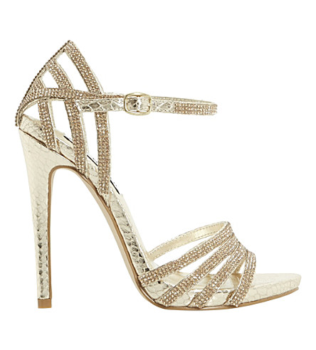 8927e22903d STEVE MADDEN Cagged diamante strappy heeled sandals (Gold-synthetic