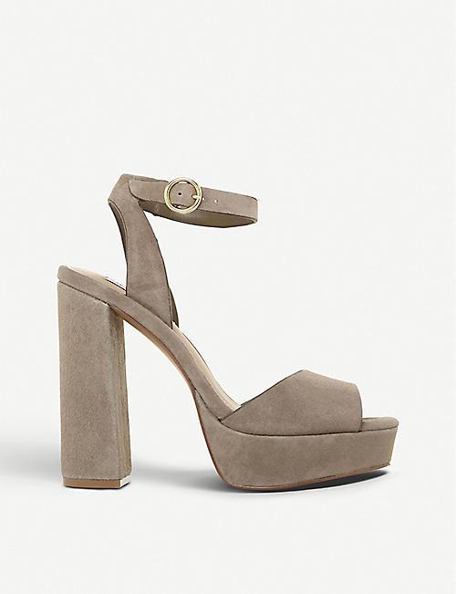 9682ee92808 STEVE MADDEN Madeline peep-toe suede platform sandals