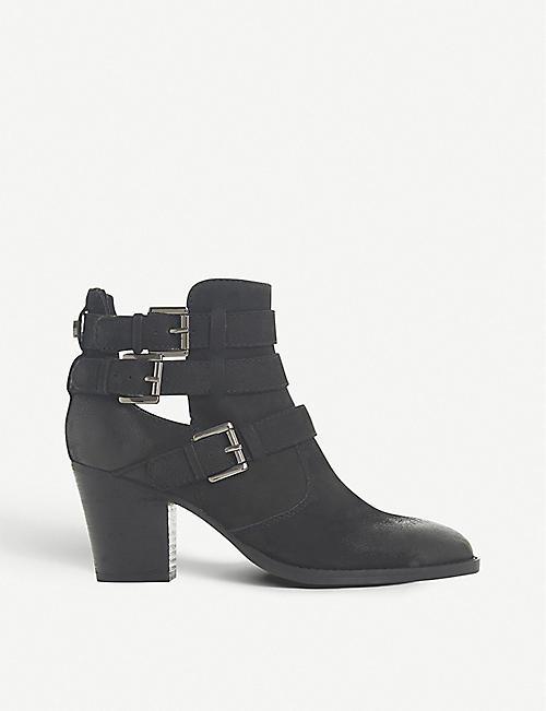 61318a7872e STEVE MADDEN - Yanky buckled leather ankle boots   Selfridges.com