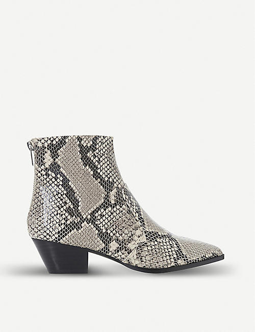 9e58585984 STEVE MADDEN Cafe reptile-embossed leather ankle boots