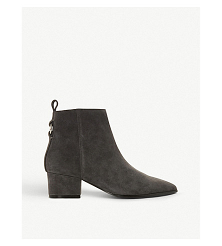 e22c5f2a988 STEVE MADDEN Clover ring-detail suede ankle boots (Grey-suede