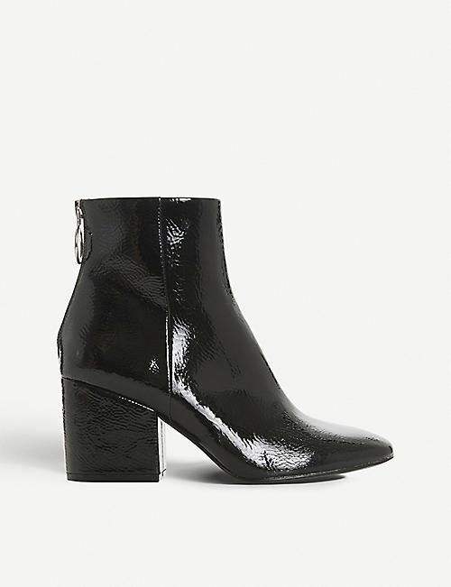 9fac0aab04a STEVE MADDEN - Break zip-detail patent ankle boots | Selfridges.com