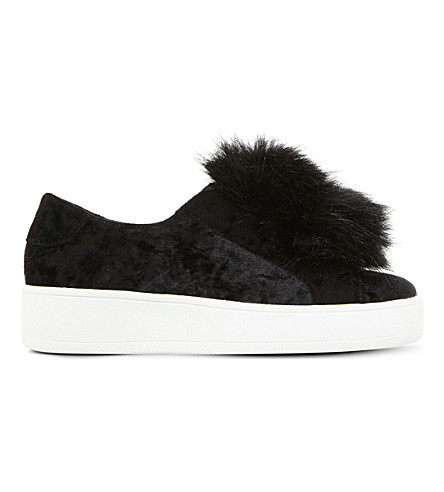 28a47e54413 Steve Madden Breeze V Pom Pom-Detail Sneakers In Black-Velvet ...