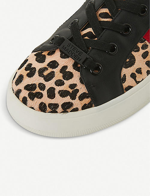 2ec3669e220 STEVE MADDEN Belle stripe-detail leopard-print flatform trainers. Quick Shop