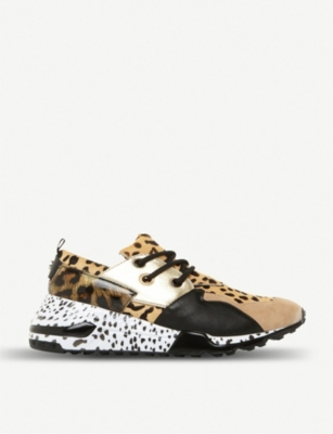 STEVE MADDEN Cliff leopard-print suede and leather trainers