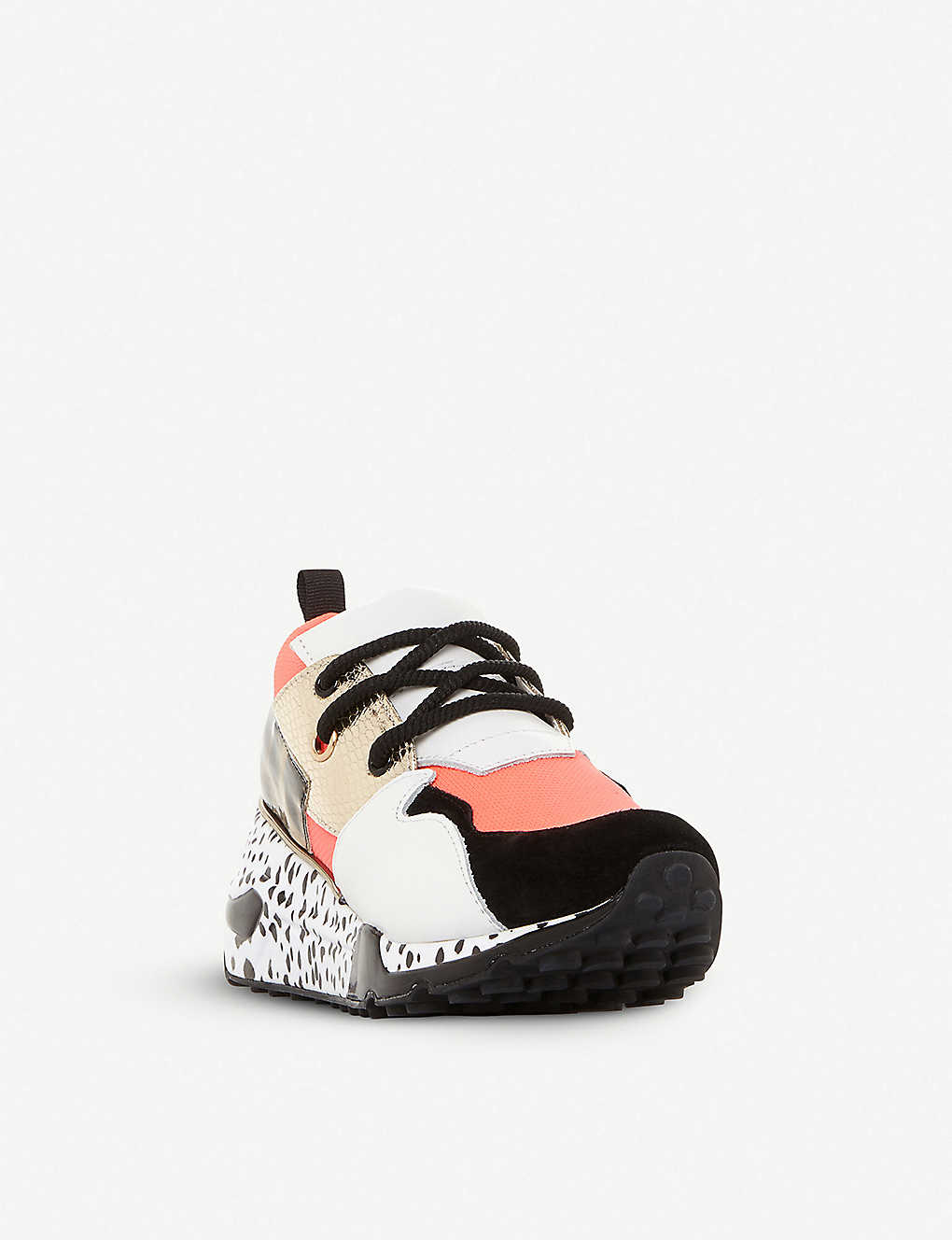 977056941c3 ... Cliff flatform mixed-print leather trainers - Coralsynthetic ...