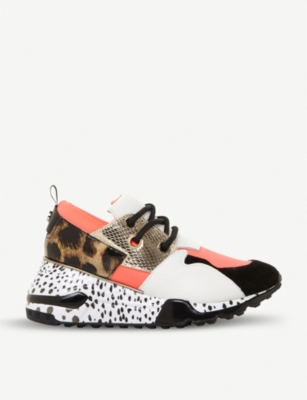 STEVE MADDEN Cliff flatform mixed-print leather trainers