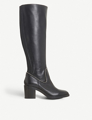DUNE BLACK Teddie knee-high leather boots